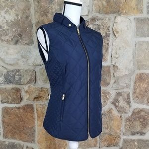 NWT Crown & Ivy XL Quilted Navy Blue Vest